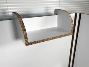 W270×D150の棚は正面、左右好きなところに取付可能